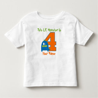 Fourth Birthday Monster Personalized T-shirt