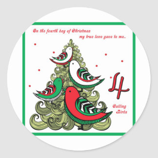 Fourth Day of Christmas Classic Round Sticker