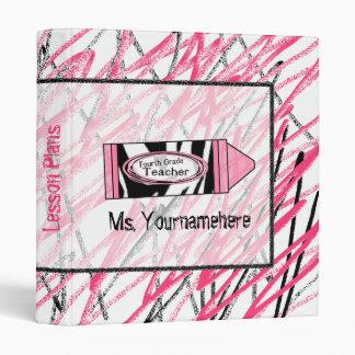 Fourth Grade Teacher Binder - Zebra Print Crayon