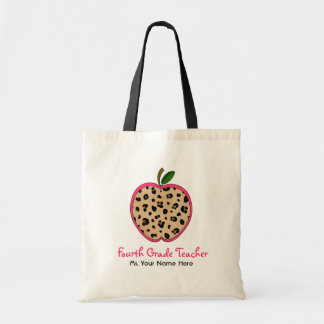 Fourth Grade Teacher Leopard Print & Pink Apple Tote Bag