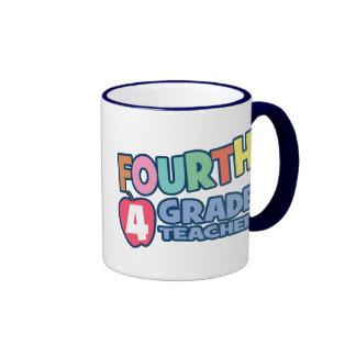 Fourth Grade Teacher Ringer Coffee Mug