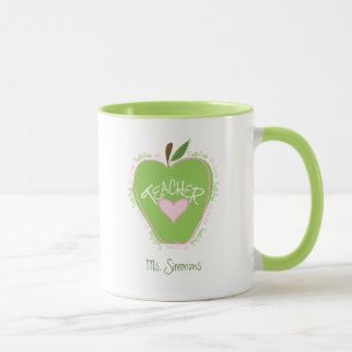 Fourth Grade Teacher Pink and Green Apple Mug