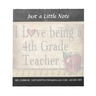 Fourth Grade Teacher | Vintage Style Notepad