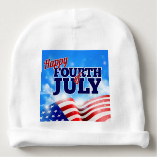 Fourth of July American Flag Background Sky Baby Beanie