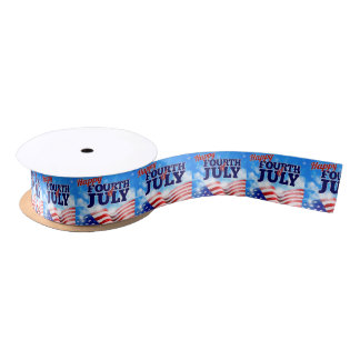 Fourth of July American Flag Background Sky Satin Ribbon