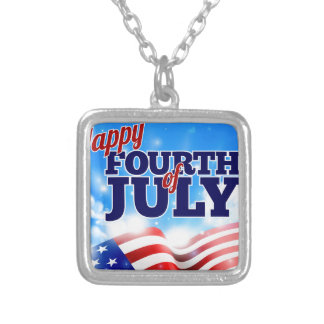 Fourth of July American Flag Background Sky Silver Plated Necklace