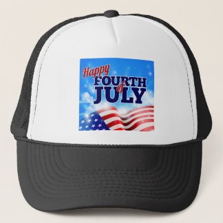 Fourth of July American Flag Background Sky Trucker Hat