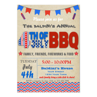 Fourth of July BBQ Invitation