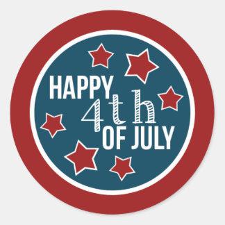 Fourth of July Cupcake Circles Classic Round Sticker