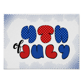 Fourth of July doodle sign