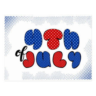 Fourth of July doodle sign, patriotic flag colors Postcard