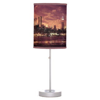 Fourth of July Fireworks behind Manhattan Table Lamps