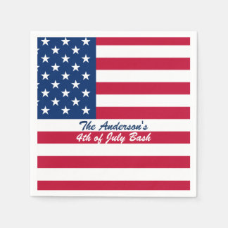 Fourth of July Flag Print Paper Napkin