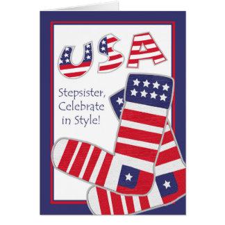 Fourth of July for Stepsister, Patriotic Socks Greeting Card
