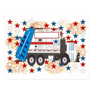 Fourth of July Garbage Truck Postcard