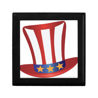 Fourth of July Hat Gold Stars Illustration Gift Box