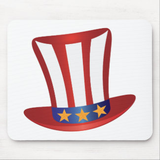 Fourth of July Hat Gold Stars Illustration Mouse Pad