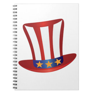 Fourth of July Hat Gold Stars Illustration Notebook