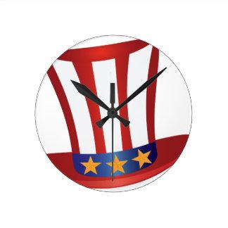 Fourth of July Hat Gold Stars Illustration Round Clock