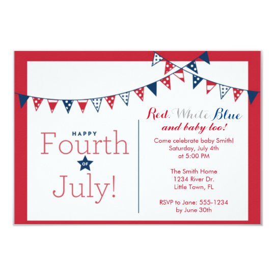 Fourth of July Independence Day Baby Shower Card