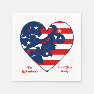 Fourth of July Independence Day patriotic heart Disposable Napkins