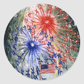 Fourth of July, Number 1, fine art painting Round Sticker