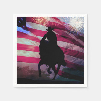 Fourth of July Party Napkins Cowboy and Flag Paper Napkin
