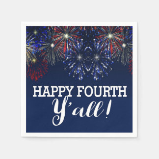 Fourth of July Party Summer Y'all Fireworks Paper Napkins