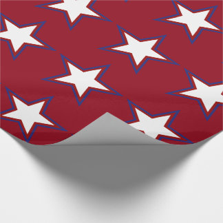 Fourth of July Red White and Blue Stars Wrapping Paper