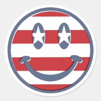 Fourth of July Smile Round Sticker