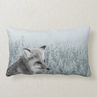 Fox Among Snowy Winter Trees Lumbar Pillow
