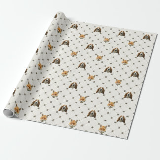 Fox and Basset Hound Wrapping Paper