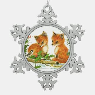 Fox and Bird Enjoy Christmas Snow Pewter Snowflake Ornament