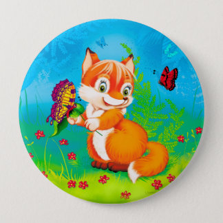 fox and butterfly 4 inch round button