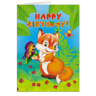 fox and butterfly card