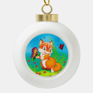 fox and butterfly ceramic ball christmas ornament