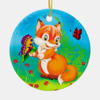 fox and butterfly ceramic ornament