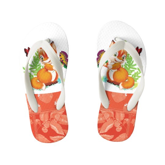 fox and butterfly kid's flip flops