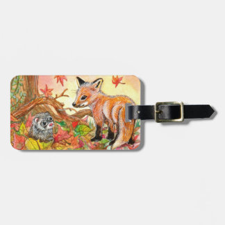 Fox and Ferret in Autumn Leaves Luggage Tag