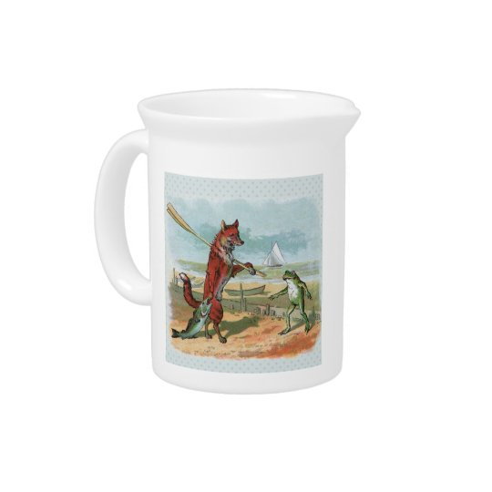 fox and frog vintage going fishing pitcher