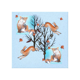 Fox and Hare Canvas Print