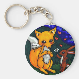 fox and hare love story basic round button keychain