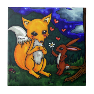 fox and hare love story ceramic tile