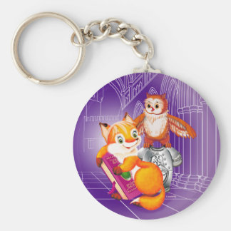 fox and owl basic round button keychain