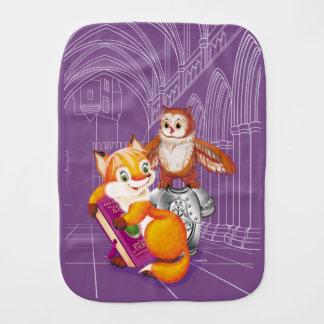 fox and owl burp cloth