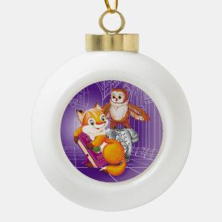 fox and owl ceramic ball christmas ornament