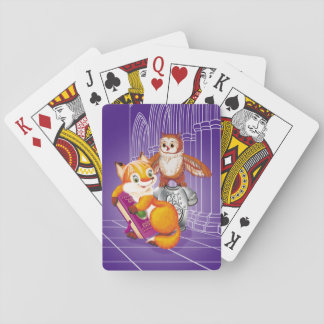 fox and owl playing cards