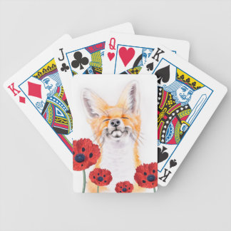 fox and poppies bicycle playing cards