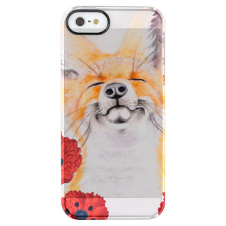 fox and poppies clear iPhone SE/5/5s case