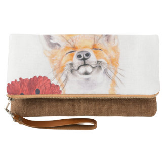 fox and poppies clutch
